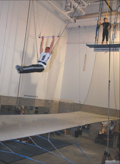 ONLY MODERATELY TERRIFIED: The reporter, swinging